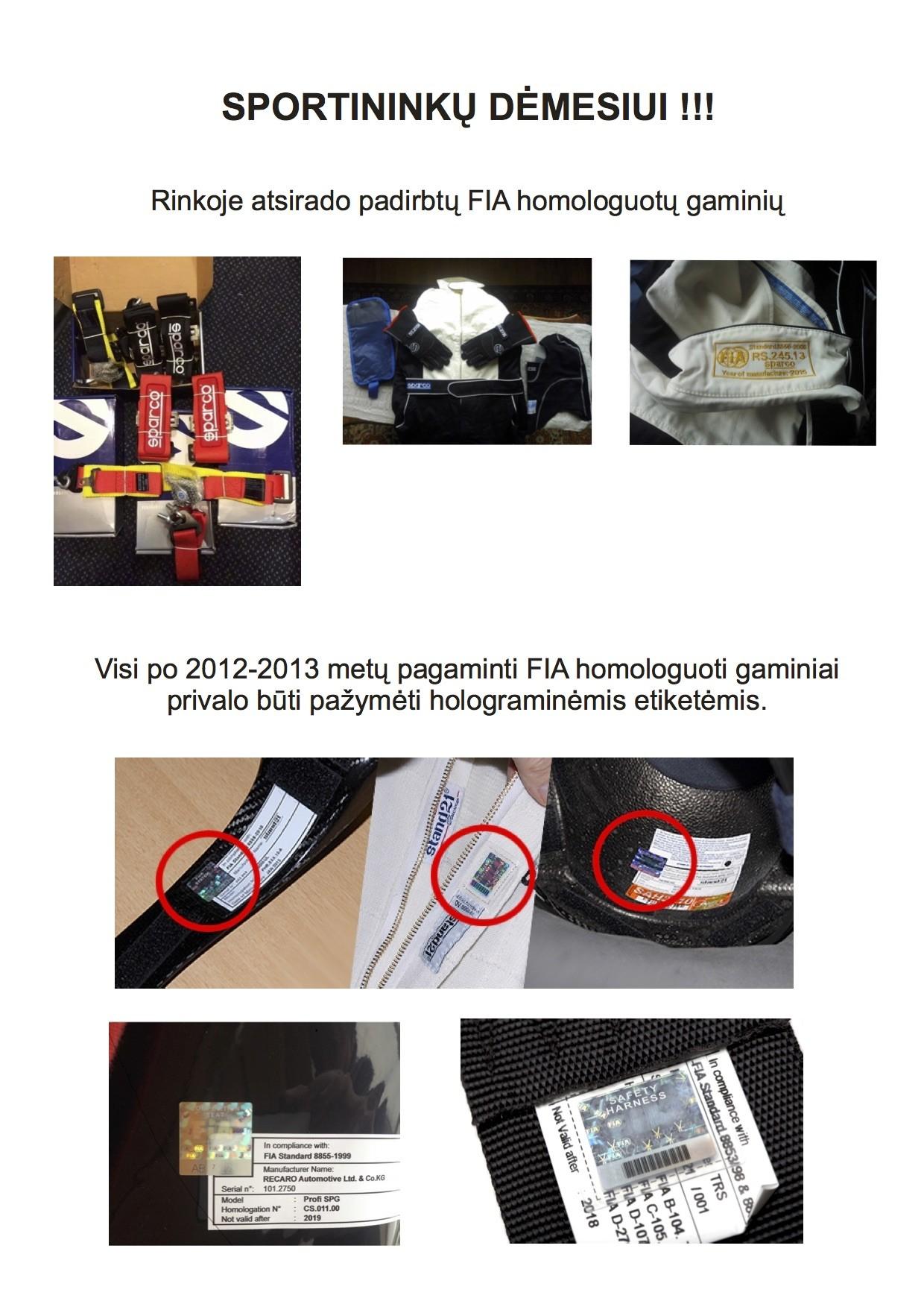 Padirbti FIA homologuoti gaminiai